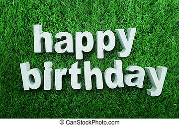Happy Birthday made from concrete alphabet