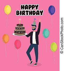 happy birthday, man with cake balloons celebration party event decoration
