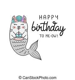 Happy birthday mermaid cat vector illustration