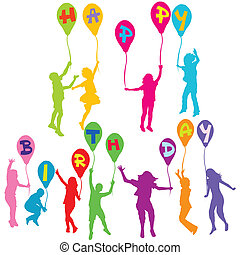 Happy birthday message with children silhouettes holding balloons