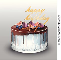 Happy Birthday modern blue cake with fig fruits Vector. Delicious dessert sweet designs