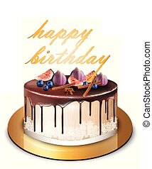 Happy Birthday modern cake with fig fruits Vector. Delicious dessert sweet designs