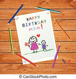Happy Birthday Mom. Baby Drawing of Father and Son