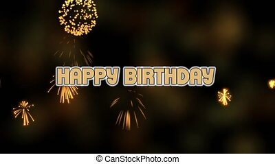 Happy birthday movie with realistic firework, party video banner, firework and blurry lights on black background, moving text, animated letters