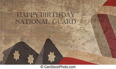Happy Birthday National Guard Illustration. American Flag...