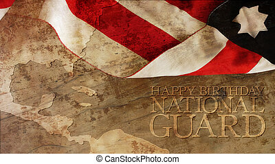 Happy Birthday National Guard. Usa Flag and Chart on Wood