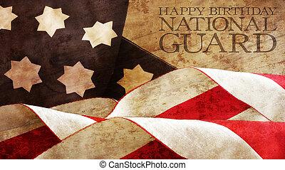 Happy Birthday National Guard. Usa Flag Waves and Wood