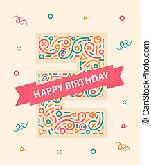 Happy birthday number 2 Colorful greeting card for two year