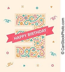 Happy birthday number 3 Colorful greeting card for three year