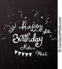 Happy birthday on chalkboard