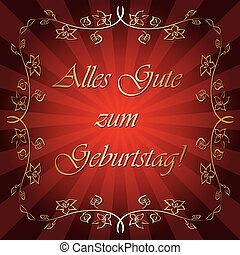 happy birthday - on german - bright red vector greeting card