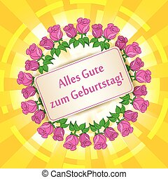 Happy birthday on german- yellow background with roses