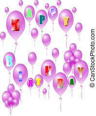 birthday greeting on purple transparent balloons on white