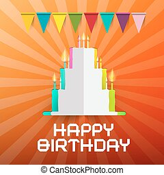 Happy Birthday Paper Cut Cake with Candles and Flags - Retro  Illustration on Orange Background