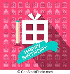 Happy Birthday Paper Flat Design Illustration with Paper Gift Box and Pencil on Pink Background
