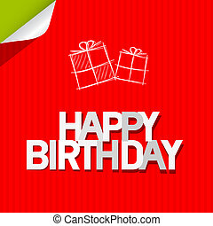 Happy Birthday Paper Red Cardboard Background