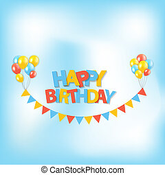Happy Birthday Party Background with Flags and Balloons Illustration