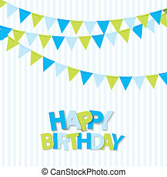Happy Birthday Party Background with Flags Illustration