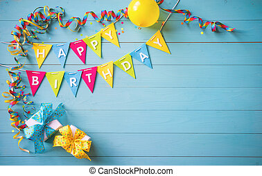Happy birthday party background with text and colorful tools