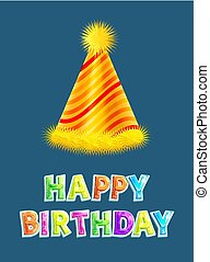 Happy Birthday Party Cap or Celebration Hat Poster - Happy ...
