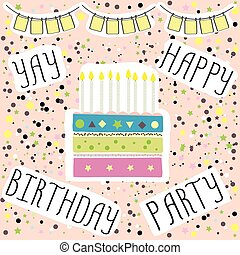 Happy birthday party ,cute  card with cake and candles