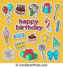 Happy Birthday Party Decoration Doodle with Stickers, Badges and Patches Balloons, Gift and Sweets. Vector illustration