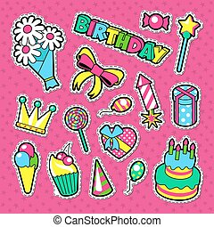 Happy Birthday Party Decoration Stickers. Kids Holiday Elements Set. Vector illustration