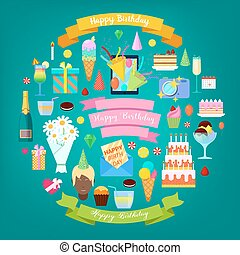 Happy Birthday Party Elements Set with Cake, Balloons and Decoration. Vector illustration