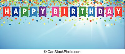 happy birthday party flags banner with confetti rain on blue sunny background