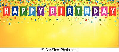 happy birthday party flags banner with confetti rain on sunny background