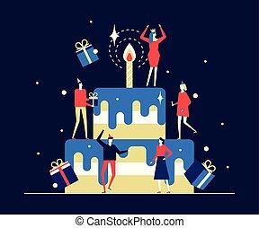 Happy birthday party - flat design style illustration