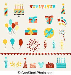 Happy Birthday party icons set.