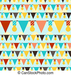 Happy Birthday party seamless pattern with garlands.