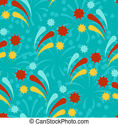 Happy Birthday party seamless pattern with fireworks.