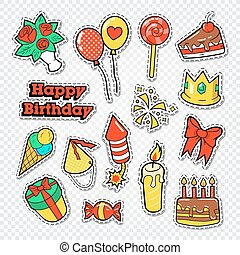 Happy Birthday Party Stickers, Badges and Patches for Decoration. Vector illustration