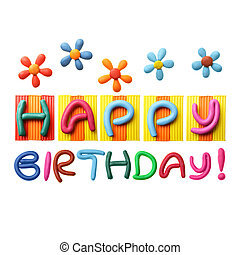 Happy birthday sticker over stock photo images april 2018 330 happy birthday phrase made from plasticine isolated over voltagebd Choice Image