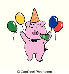 Happy birthday pig cartoon