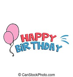 Happy Birthday Pink Balloons Background Vector Image