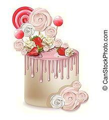 Happy Birthday pink cake Vector realistic. Lollipops and meringues on top. 3d detailed illustrations