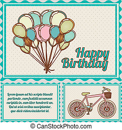 happy birthday postcard over dotted background vector ...