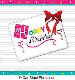 happy birthday postcard over white background vector ...