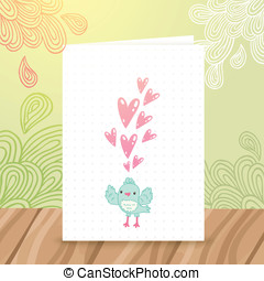 Happy Birthday postcard with bird and heart