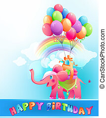 Happy birthday postcard with pink elephant - Happy birthday ...