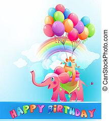 Happy birthday postcard with pink elephant