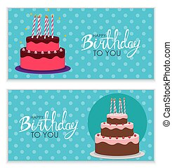 Happy Birthday Poster Background with Cake. Vector Illustration