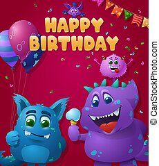 Birthday poster with blue and purple monsters