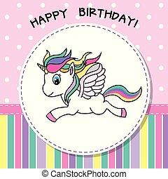 Pretty unicorn card - happy Birthday. Pretty unicorn card