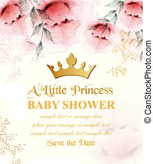Happy birthday princess card Vector. Crown and Delicate floral bouquets