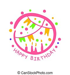 Happy Birthday promo sign. Childrens party colorful hand drawn vector Illustration