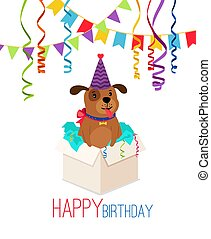 Happy birthday puppy in box card